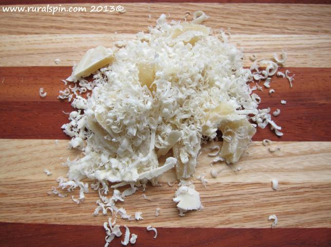 Grated or chopped beeswax can be melted gently with the cottonwood oil to create a salve.