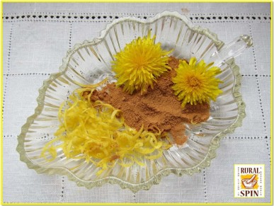 Dandelion Sunshine Jelly ingredients: dandelion flowers, honey, cinnamon, and lemon zest.