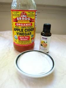 Shampoo free: baking soda, vinegar, and essential oils.