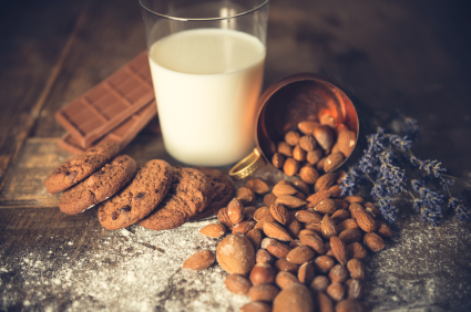 Almonds can be made into almond milk, ground into flour, and added into sweet treats.